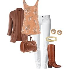 """""""Brown, Orange, Gold, and White"""" by stephaniemd7 on Polyvore   Perfect for fall!"""