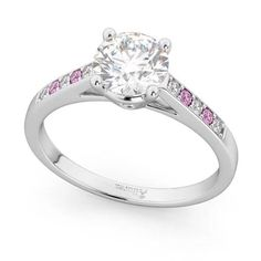 Cathedral Pink Sapphire & Diamond Engagement Ring 14k White Gold 0.20ct - U2781 Best Diamond, Diamond Cuts, Engagement Ring Settings, Ring Engagement, Sapphire Diamond Engagement, Pink Gemstones, Wedding Rings Vintage, Pink Sapphire, White Gold Rings