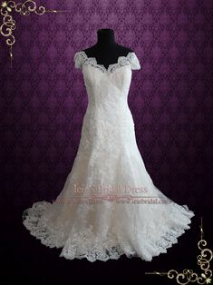 Fit and Flare Champagne Lace Wedding Dress with Cap Sleeves | Ieie's Bridal Wedding Dress Boutique