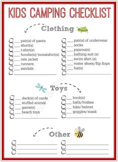 Free printable kids camping checklist - now the kids can pack their own stuff without forgetting anything!  Great for vacations too!