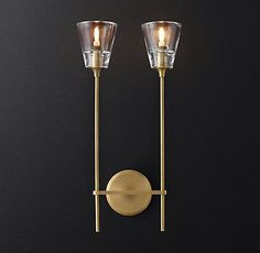 RH Modern's Torche De Verre Double Sconce:The torch form is distilled to its… Luxury Lighting, Sconce Lighting, Interior Lighting, Modern Lighting, Living Room Lighting Design, Neoclassical Design, Design Digital, Shops, Modern Sconces