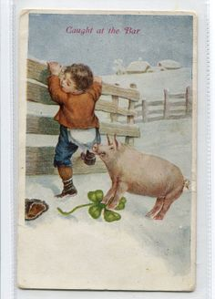 Caught at the bar pig pulling down boy's by sharonfostervintage, $4.50