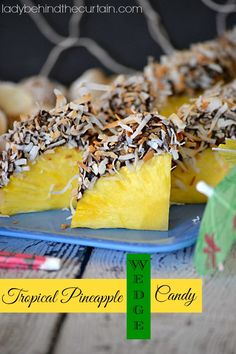 Are you planning a luau, pool party or beach them party?  This Tropical Pineapple Wedge Candy is PERFECT!  Sweet Pineapple dipped in dark chocolate and then dipped in toasted coconut.  The perfect ending to a great meal./