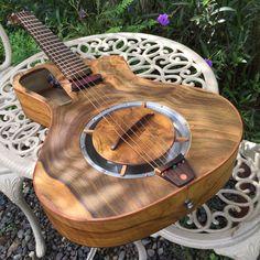 """Electro acústica guitarra del resonador hecho a mano Luthier avivado fret """"Raulo"""""""