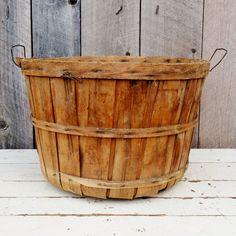 Wooden Bushel Basket Wire Handles Fall by RelicsAndRhinestones, $25.00