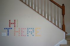 washi tape cross stitch wall art // via katie cupcake