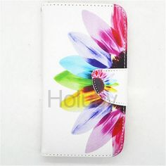 Card Slots Wallet Style Magnetic Flip Stand TPU+PU Leather Case for Samsung Galaxy S5 i9600 G900 (Colorized Flowers)