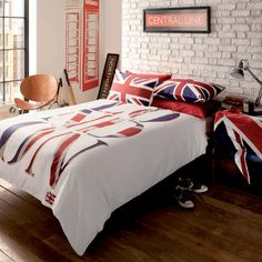London 2012 Union Jack bed linen.  http://www.worldstores.co.uk/p/Catherine_Lansfield_London_Bedding_Set.htm