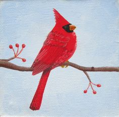 Small cardinal painting on canvas 4 x 4 by steph4567 on Etsy, $10.00