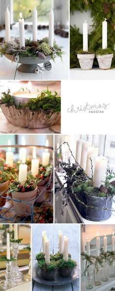 As I was collecting christmas inspiration, I came across some trends. Candles in vintage vessels (such as metal pots, tins, cermaic pots or bottles) and surrounded by greenery, such as moss and pin...