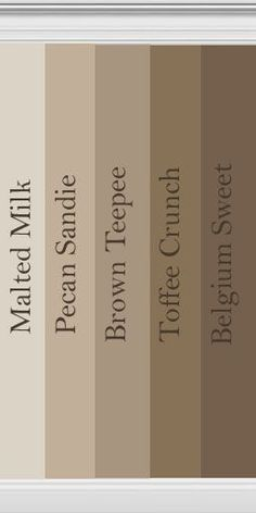 When picking out colors Behr brown paint samples Brown Paint Colors, Paint Colors For Home, Paint Colours, Neutral Paint, Neutral Bathroom Colors, Brown Paint Schemes, Brown Paint Walls, Bathroom Color Schemes Brown, Neutral Colors