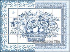 Delft tile flower basket panel-architectural
