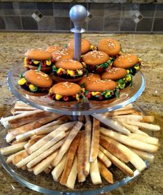 Hamburger & French Fry Cookies - Recipe from http://allrecipes.com/Recipe/Hamburger-Cookies/      Fries are just cut up sugar cookies.  The kids loved helping with these.