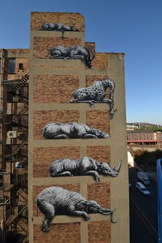 Photographs of stacked African animals on a painted onto a building facade in Johannesburg / graffiti street art by ROA . 3d Street Art, Murals Street Art, Amazing Street Art, Best Street Art, Street Art Graffiti, Street Artists, Amazing Art, Awesome, Graffiti Artwork