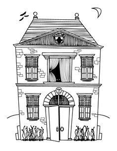coloring pages spooky househalloween haunted