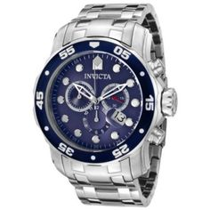 "Relógio Invicta Men's 0070 ""Pro Diver Collection"" Stainless Steel and Blue Dial Watch #Relogio #Invicta"
