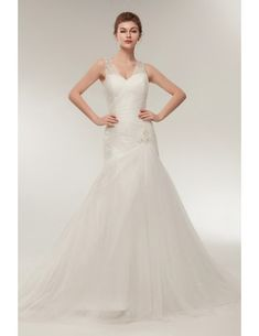 f7c0f4cd21cf Fit And Flare Pleated Tulle Wedding Dress with Beading Straps  S632 -  GemGrace.com