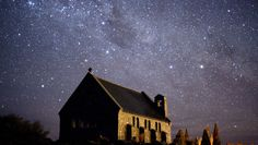 "'Largest ""Dark Sky"" Reserve designated in New Zealand.' The picture is the night sky above the Church of the Good Shepherd in Tekapo, New Zealand."