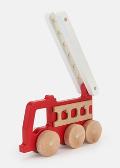 manny and simon Wooden Fire Truck Push Toy | Rodale's
