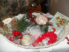 vintage mirror with christmas ornaments