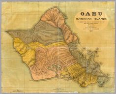 Antique map of Oahu, Hawaiian Islands (1899) drawn by T.D. Beasley. via David rumsey Map Collection