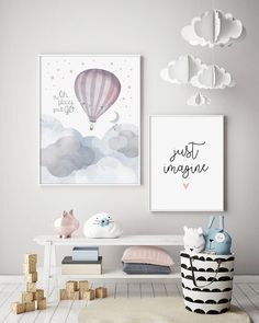 Oh, The Places You'll Go - Hot Air Balloon - Nursery Print - Baby Nursery - Wall Art - Kids Room - Moon & Stars - Bunting - Adventure Awaits Best Baby Room Decor Ideas Baby Prints, Nursery Prints, Nursery Room, Nursery Wall Art, Girl Nursery, Nursery Decor, Moon Nursery, Travel Theme Nursery, Nursery Ideas