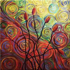 Canvas Art - Wall Art finished in USAHistory: This abstract floral is a vivacious and fanciful representation of tulips set against a psychedelic swirling and churning multi