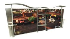 Display your product on aluminium based back wall in trade shows