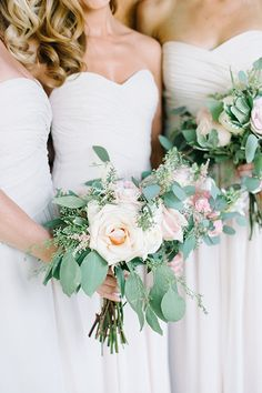 Rose, ranunculus, hydrangea, and eucalyptus wedding bouquets | @kateholstein | Brides.com