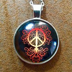 Peace Glass Cabochon Necklace