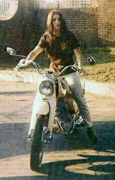 Young Pricellia Presley on her motorcycle Elvis bought her.