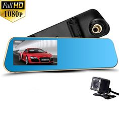 HD Dual Lens Car Camera, Car Video Recorder for Vehicles Front and Rear DVR, 4.3 Inch Screen, Enhanced HD1080P with Dash Cam