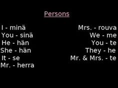 Pronouns and Mr/Mrs in Finnish Finnish Language, German Language Learning, Language Study, Japanese Language, Languages Online, Foreign Languages, French Lessons, Spanish Lessons, Learn Finnish