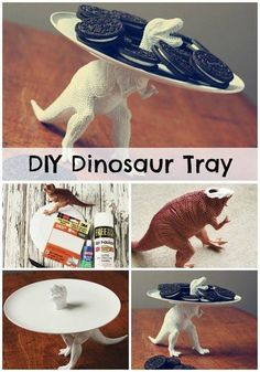 Dinosaur plate for the kids to put cookies on !!!! Really easy and fast