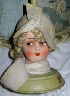 3f3aa88e770 Antique Art Deco 1920 s Flapper Girl Hat Stand Boudoir Lady Doll Head 1920s  Flapper Girl