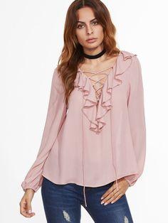 485dd281b316 Shop V Neckline Lace Up Frill Trim Blouse online. SheIn offers V Neckline  Lace Up