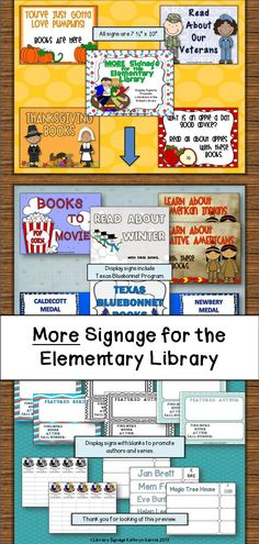Filling a library or media center with lots and lots of signage will help everyone become more self-sufficient and independent in your library. Your patrons never seem to have the time to leisurely browse so it is important to anticipate what they may be looking for and have it displayed and clearly labeled.  $