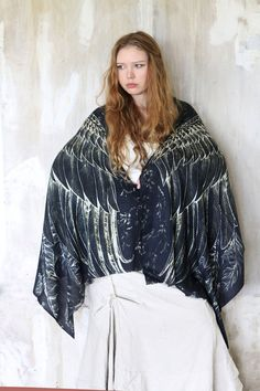 Cashmere Black Women scarf, Hand painted Wings and feathers, stunning unique and useful, perfect gift