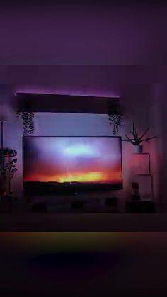 Bedroom Setup, Room Ideas Bedroom, Salas Home Theater, Home Theatre, Tv Lighting, Home Theater Lighting, Tv Led, Attic Bedroom Designs, Game Room Design