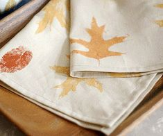 Leaf-print napkins are a great fall family activity. Gather falling leaves, add fabric paint and stamp. http://www.parents.com/fun/arts-crafts/kid/lovely-leaf-crafts-for-kids/?socsrc=pmmpin092512cLeafNapkins#page=7