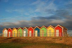 beach huts all in a row