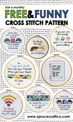 Free monthly cross stitch pattern / join the newsletter / StitchUpClub / free cross stitch club / Spruce Craft Co. / funny patterns / www.sprucecraftco… - Stitch Up Club Cross Stitch Quotes, Cross Stitch Kits, Cross Stitch Charts, Cross Stitch Designs, Cross Stitch Beginner, Cross Stitching, Cross Stitch Embroidery, Embroidery Patterns, Hand Embroidery