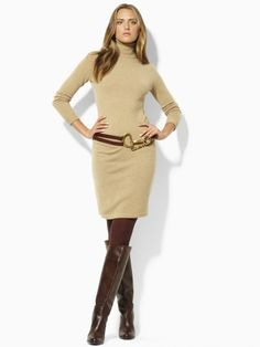 A great Ralph Lauren sweater dress wonderful with cold weather and boots easy classic style wear any place. Clubbing Outfits, Chic Outfits, Fashion Outfits, Womens Fashion, Look Fashion, Winter Fashion, Estilo Cowgirl, Long Sleeve Turtleneck Dress, Mein Style