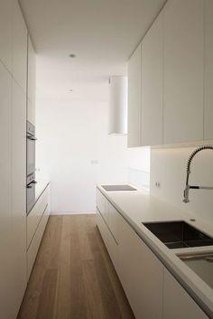 very narrow kitchen