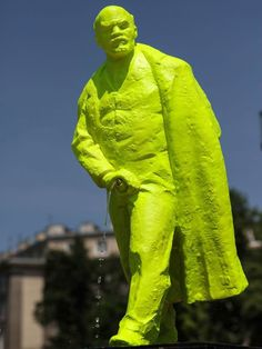 Polish town erects fluorescent statue of Lenin urinating called 'Fountain of the Future'
