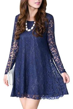 Fall Ideas:Plus Size Blue Crochet Lace Dress