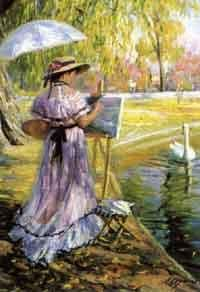 Alexander Averin - Painting by the pond