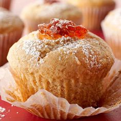 Pick your pleasure with these delicious cupcakes -- any jelly, jam, marmalade, or fruit curd can serve as the filling. Simply fill each cupcake until visible on top, then sift with powdered sugar.