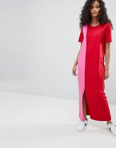 69e8af36a7e ASOS Ultimate T-Shirt Maxi Dress In Color Block Fashion Now