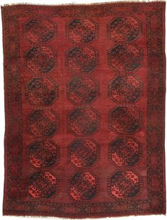 Red 8' x 10' 4 Afghan Akhche 1279